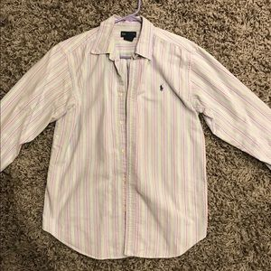 Blue, pink and green Polo button down